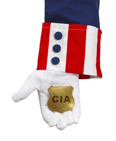 covert: President Holding CIA Badge Isolated on White.