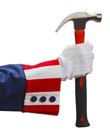 President Holding a Hammer Isolated on White Background.