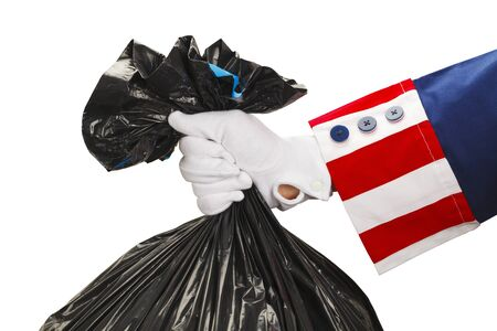 loopholes: President Holding a Bag of Trash Isolated on White Background.