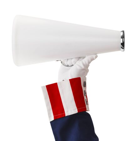 President Holding Megaphone Ioslated on White Background.