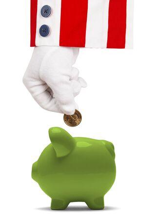 sam: President Putting Money Into Piggy Bank Isolated on White.