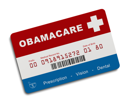 visions of america: Obamacare Health Insurance Card Isolated on White Background. Stock Photo