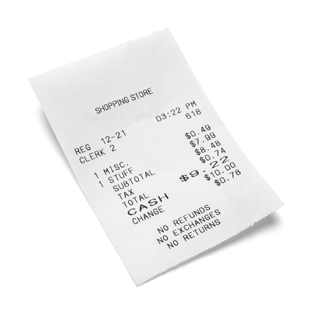 Paper Sales Receipt Isolated on White Background. Archivio Fotografico