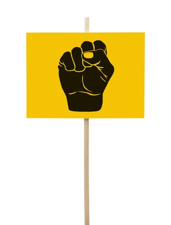 protestor: Yellow and Black Protestor Sign with Fist Isolated on White Background.