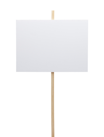 protestor: Protest Sign with Copy Space Isolated on White Background.