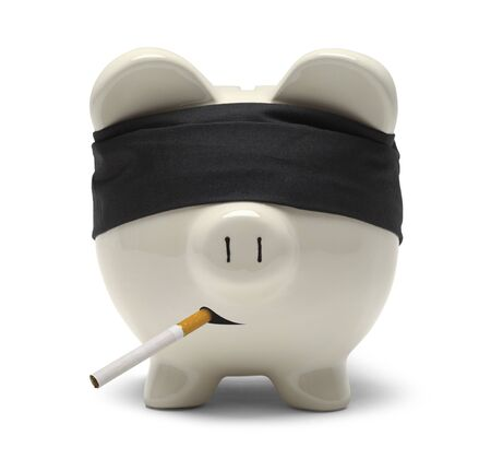 Piggy Bank With Blind Fold at Firing Squad with Cigarette Isolated on White. Stock Photo