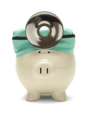 Piggy Bank Doctor with Hat and Reflector Isolated on White.