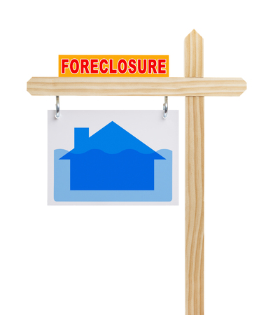subprime mortgage crisis: Real Estate Foreclosure Sign with House Under Water Isolated on White.