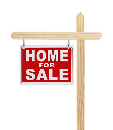 Red and White Home For Sale Sign On post Isolated on White Background.
