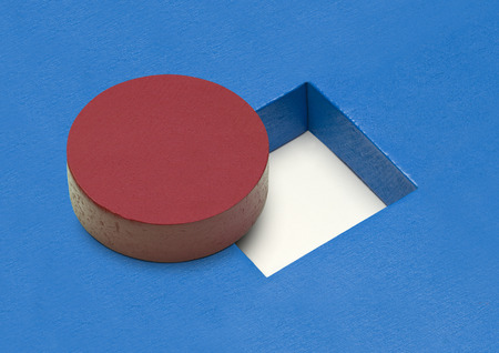 Red Circle Wood Block with Square Hole.