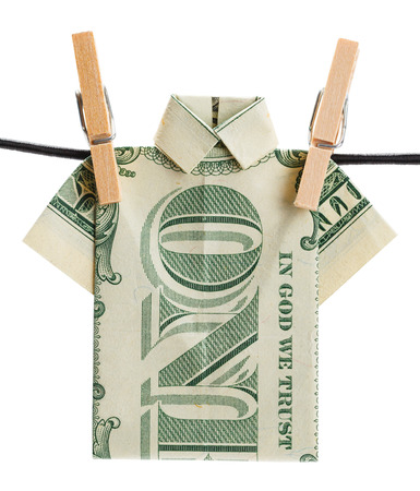 Money Shirt Hanging Out to Dry Isolated on White Background. Zdjęcie Seryjne