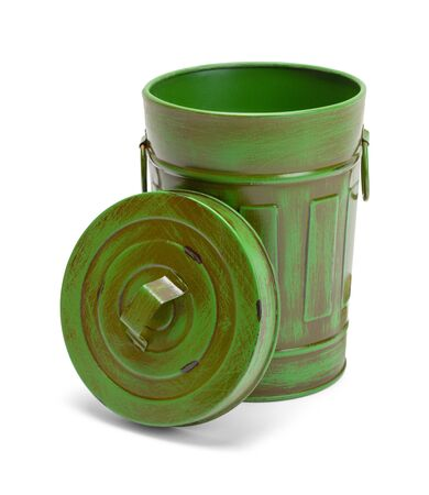 Open Green Garbage Can Isolate on White Background.