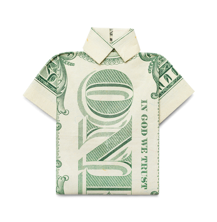 cleaning debt: One Dollar Bill Shirt Isolated on White Background.