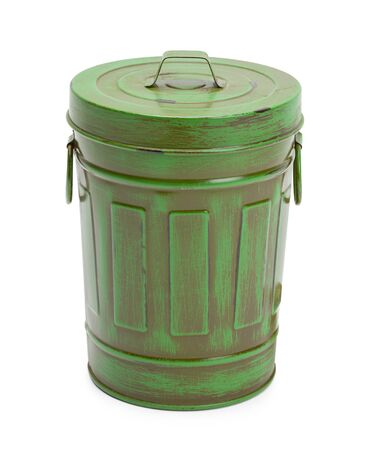 Closed Green Garbage Can Isolated on White Background.