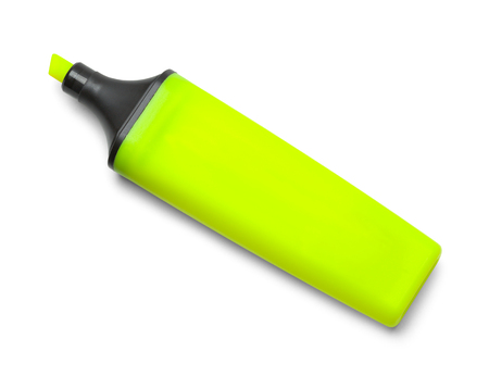 Bright Yellow Highlighter Marker Isolated on White Background.