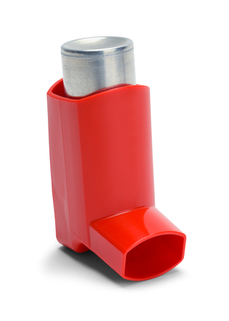 Red Asthma Inhaler with Bottle Isolated on White Background.