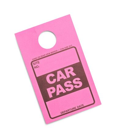 Pink Parking Permit Car Pass Isolated on White Background.