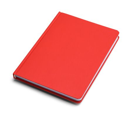 Red Closed Handback Book With Copy Space Isolated on White Background. Banco de Imagens