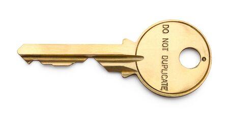 blank spaces: Bronze Postal Key Isolated on White Background. Stock Photo