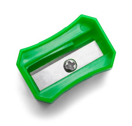 Green Pencil Sharpener Top View Isolated on White Background.