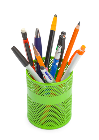 Pens and Pencils in a Cup Can Isolated on White Background.