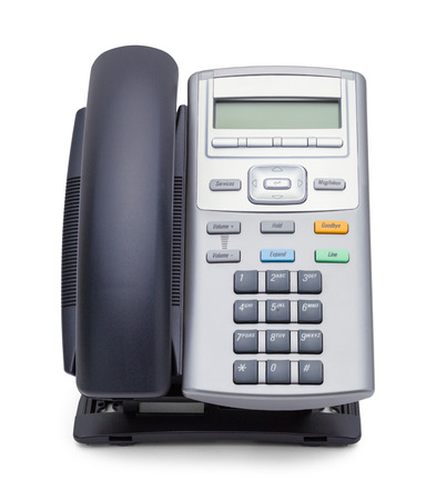 Black and Grey Office Phone Front View Isolated on White Background.