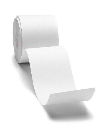 Paper Printer Tape Roll Front View Isolated on White Background.