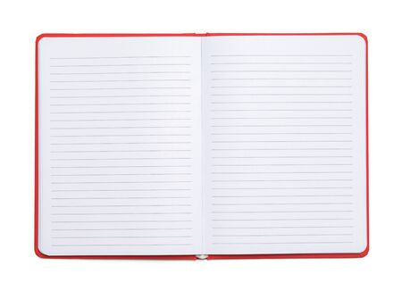 Red Composition Book With Line Paper Isolated  on White Background.