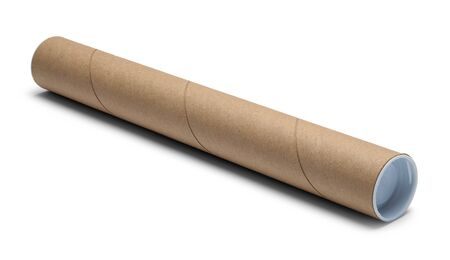 Cardboard Mailing Tube Isolated on White Background.