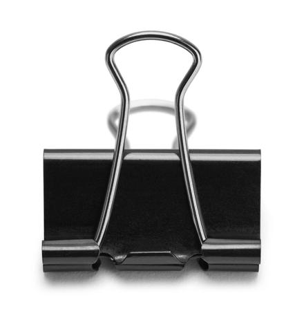 Black Binder Clip Isolated on White Background. Stock Photo