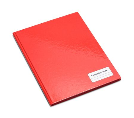Red Closed Composition Book Isolated on White Background. Banco de Imagens