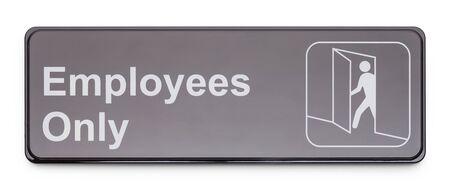 黒人の従業員のみに分離の白い背景に署名します。