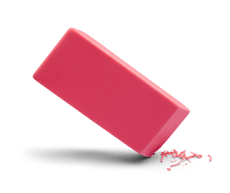 Pink Eraser in Use Isolated on White Background.