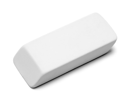 Clean White Eraser Isolated on White Background.