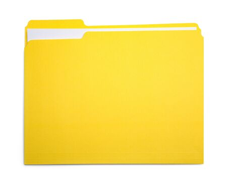 Closed Yellow File Folder Isolated on White Background. Foto de archivo