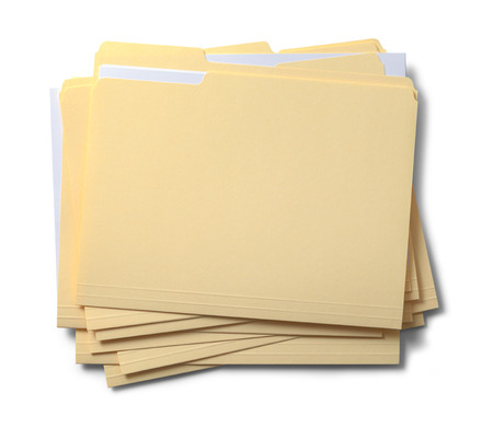 Group of Stacked Files Top View Isolated on White Background.