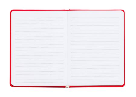 Open Lined Red Notebook Isolated on White Background.