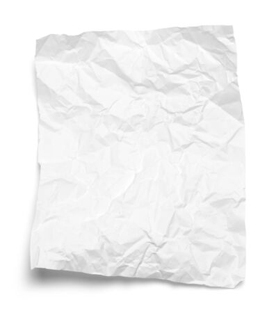 Wrinkled Bent White Paper Isolated on White Background.