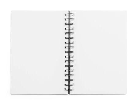 Open Blank Sketchbook Isolated on White Background.
