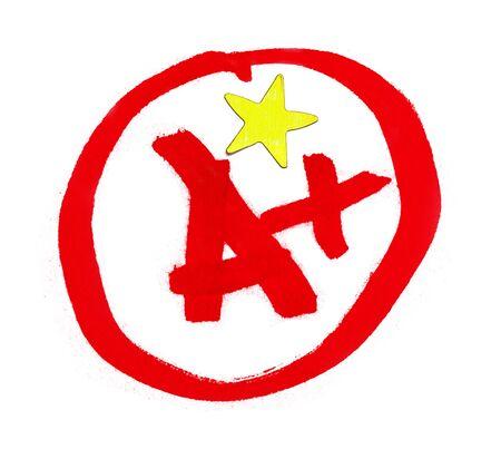 Een plus rang met ster sticker geïsoleerd op wit. Stockfoto - 94420941
