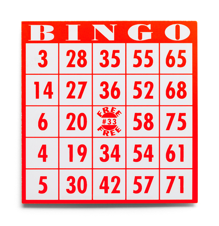 Rode bingokaart geïsoleerd op een witte achtergrond. Stockfoto