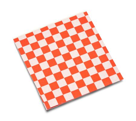 Red and White Checkered Napkin Isolated on White.