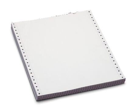 Vintage Computer Paper Stack Isolated on a White Background.