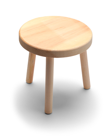 Small Round Foot Stool Isolated on a White Background.