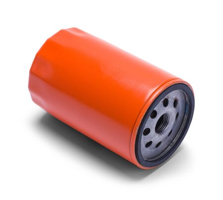 Orange Car Oil Filter Isolated on a White Background. Stock Photo