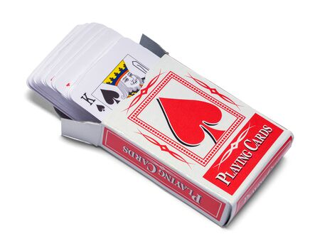 Open Deck of Playing Cards Isolated on White.