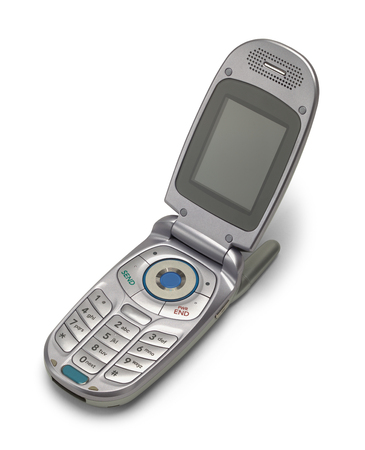 Old Vintage Grey Flip Phone Open Isolated on a White Background.