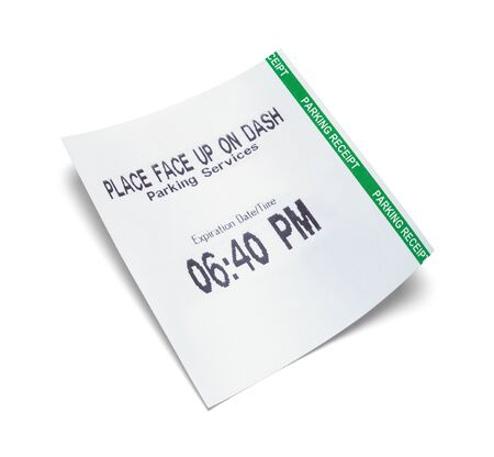 Paper Parkging Receipt Curved with Copy Space Isolated on White.