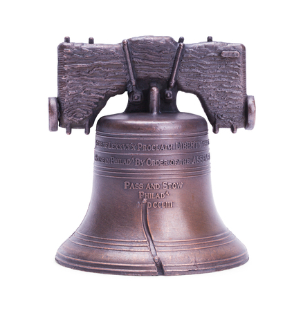 Liberty Bell Replica Cut Out on White. Stok Fotoğraf - 94248461