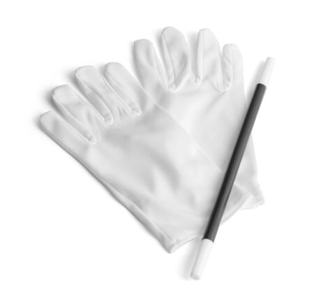 Two White Gloves and a Magic Wand Isolated On White.